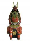 【鎧兜甲冑等身大】蓬半懸 鱗袖 赤二枚胴具足